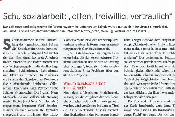 Artikel aus Innsbruck Informiert über die SchuSo nun auch in IBK