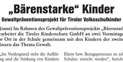 """Zeitungsausschnitt """"Bärenstarke Kinder"""""""