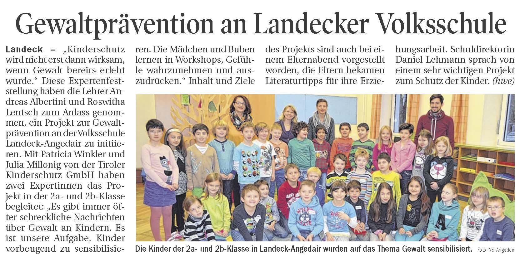 Die Kinder der 2a- und 2b- Klasse in Landeck Angedair
