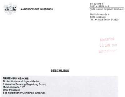 Bescheid Namensänderung GmbH