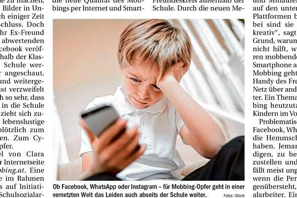 Bild des Artikels über Smartphone als mobbingwerkzeug in der Tiroler Tageszeitung