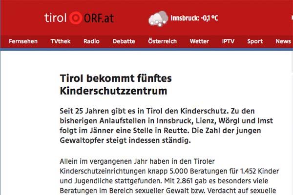 """Bild vom ORF Artikel """"Tirol bekommt fünftes Kinderschutzzentrum"""""""