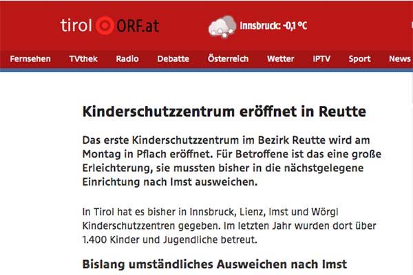 """Bild vom ORF Artikel """"Eröffnung Kinderschutz Reutte"""""""