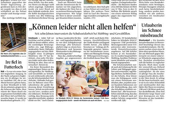 """Artikel aus der TT vom 02.02.2018 Schulsozialarbeit: """"Können nicht allen helfen"""""""