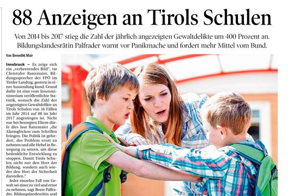 """tt-thumb für Artikel """"88 Anzeigen an Tirols Schulen"""""""