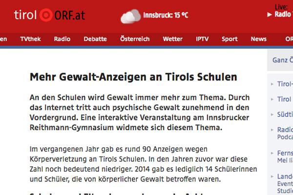 Thumbnail Gewalt-Anzeigen an Tirols Schulen