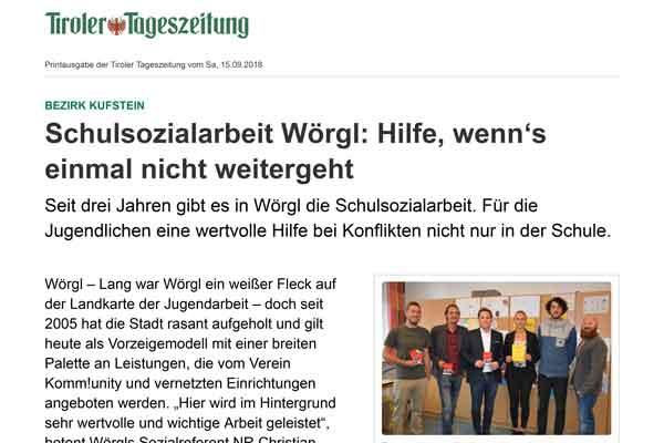 Ausschnitt aus dem Artikel der Tiroler TageszeitungSchulsozialarbeit Wörgl