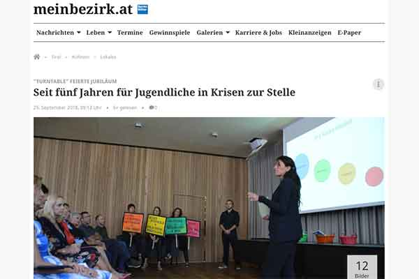 Ausschnitt aus dem Zeitungsartikel der Bezirksblätter über das 5 Jährige Jubiläum von Turntable Kufstein.