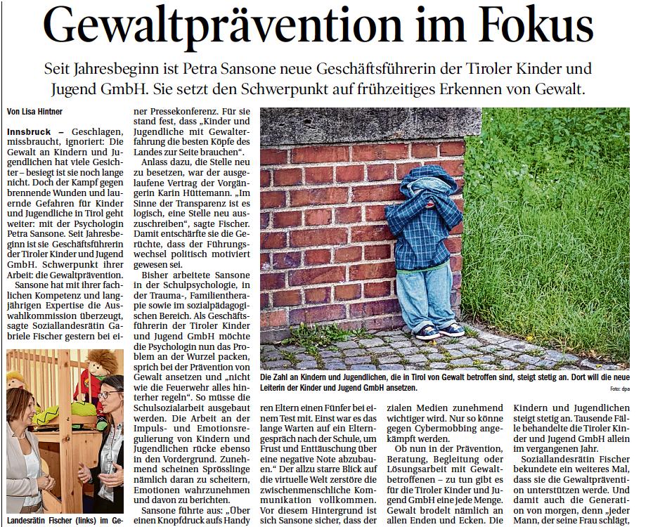 Tiroler Tageszeitung Bericht über neue Geschäftsführerin Petra Sansone