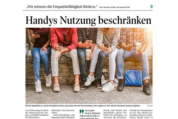 Titelbild des Zeitungsartikels ind der TT