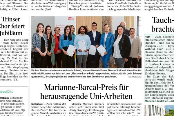 Ausschnitt aus dem Zeitungsartikel über den Marianne-Barcal-Preis