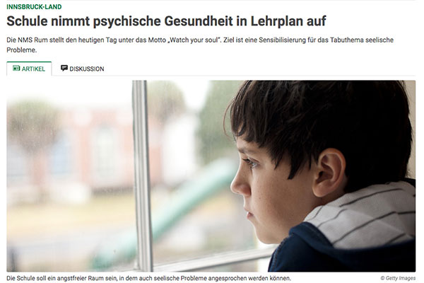 Screenshot des Artikels in der Tiroler Tageszeitung