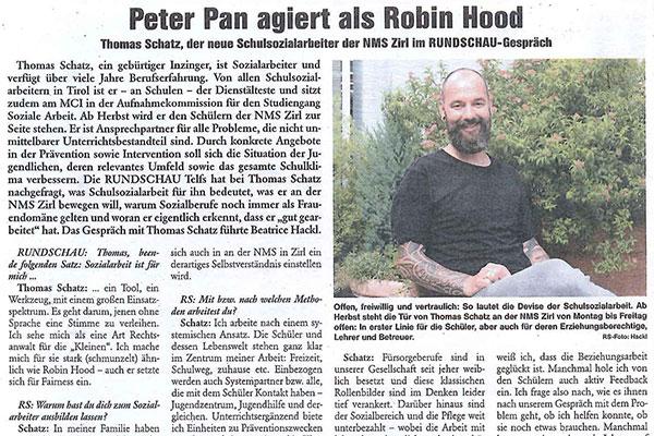 Ausschnitt eines Zeitungsartikels der SCHUSO mit Thomas Schatz