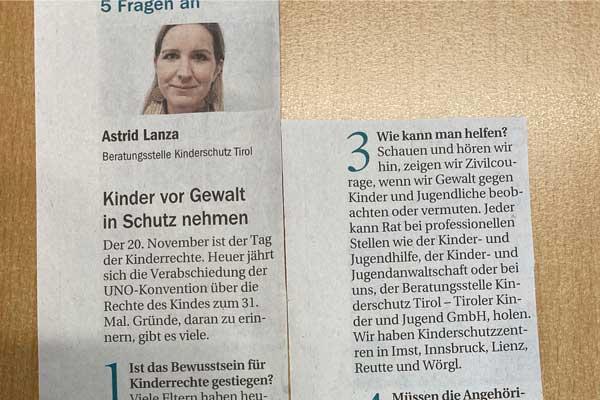 """Foto des Zeitungsartikels """"5 Fragen an Astrid Lanza"""""""